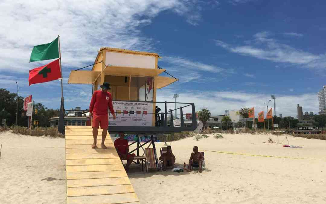 Life Guard Hut in Montevideo - beach warning flags uruguay