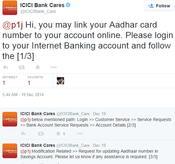 Link Aadhaar Card to ICICI Bank Account