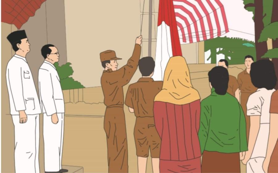 pengibaran bendera saat proklamasi