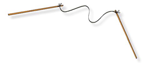 Ikatkan tali pada ujung pensil. Ukuran tali lebih panjang dari pensil.
