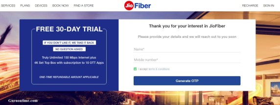 Apply JioFiber connection registration