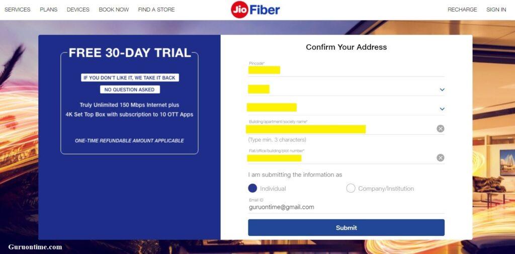 Jio Fiber Availability Check