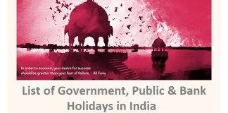 Government, Public & Bank Holidays in India