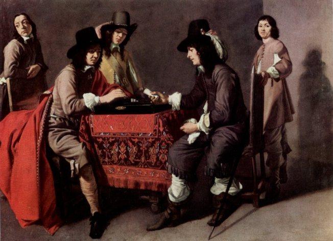 Les Joueurs de trictrac par Maître des Jeux, peintre de l'entourage des frères Le Nain (musée du Louvre).