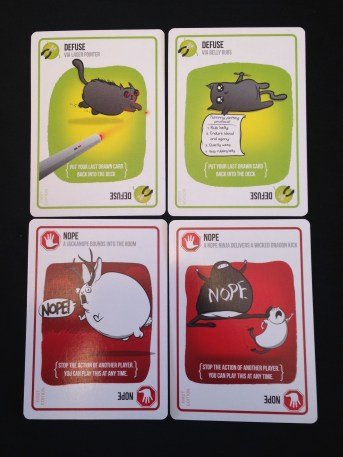 These defuse cards save you from the exploding kittens. These Nope! cards keep your enemies from attacking you or defending themselves.