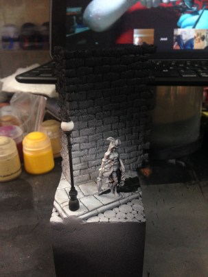 I put a little bit of paint on the lamp to darken it up a little, just need to go back and hit the highlights now.