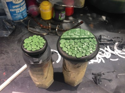 A couple of custom sculpted cobblestone bases.