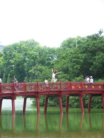 The Red Bridge on Hoan Kiem Lake