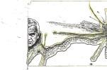 """""""Carátula"""" (detalle de página interior) de """"Dos cartas"""". Textos de Milan Kundera y Fernando Arrabal, imágenes de Gustavo Charif."""