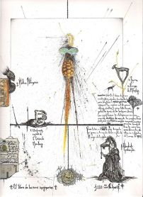 """El libro de los seres imaginarios"" / ""Book of Imaginary Beings"" (2006). Inspired by the book of Margarita Guerrero and Jorge Luis Borges. Tinta, lápiz, papel, collage, fuego y óleo pastel sobre papel. / Ink, pencil, paper, collage, fire and oil pastel on paper."