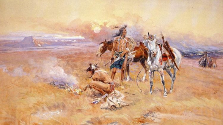 Indians and indians on horseback