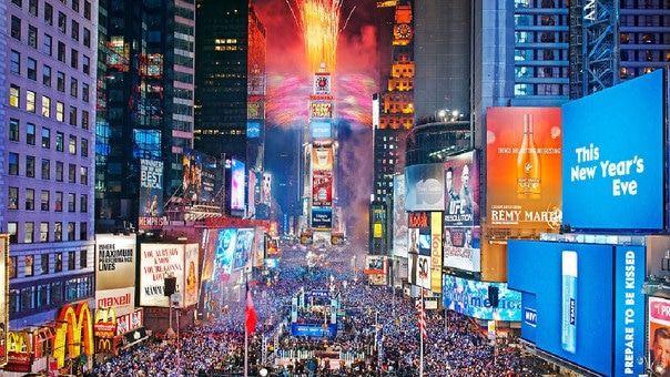 Celebración de año nuevo en el mundo en el Times Square - Nueva York