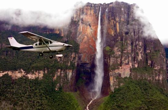 Flying over Angel Falls
