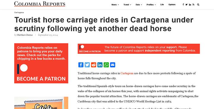 Reportaje de Colombia Reports sobre los caballos cocheros en Cartagena