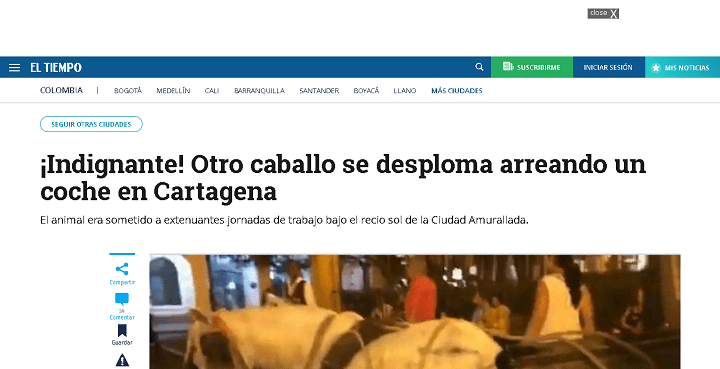 Reportaje del El Tiempo de Colombia 26 de Noviembre 2019