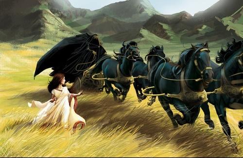 Hades y sus caballos con Perséfone - Caballos Mitológicos