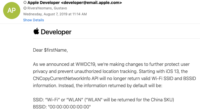 image of apple email with error in the send to field