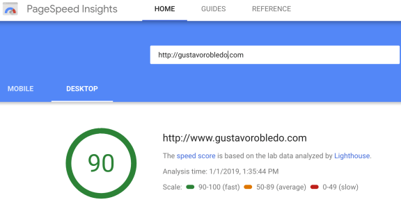 Google PageSpeed Test Sample