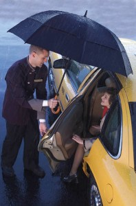 GustBuster Doorman windproof umbrella in action