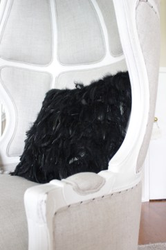 RH Versailles Chair ZGallerie Whisper Pillow Black