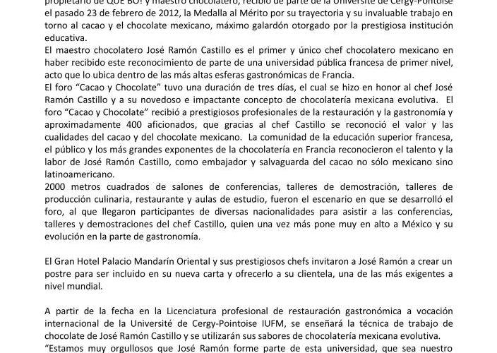 """Comunicado Prensa Université de Cergy-Pontoise otorga Medalla Mérito a """"Chef José Ramón Castillo"""""""