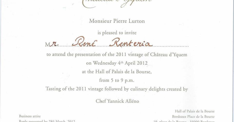 René Rentería vuela a Burdeos invitado a catar vinos cosecha 2011 por Chateau d' Yquem