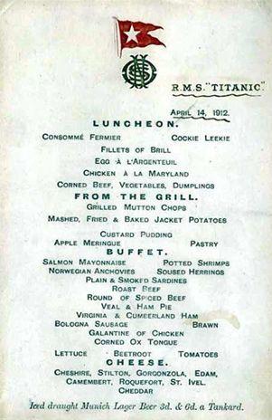 Subastan menú del Titanic por millón y medio de pesos vía Vida y Estilo