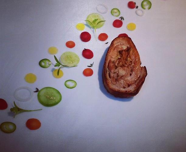 Panza de cerdo pelón, zanahorias en escabeche by Chef Enrique Olvera