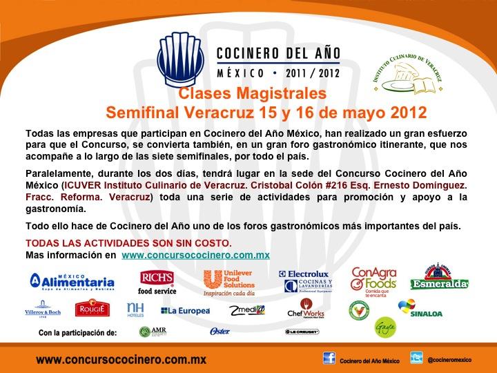 Hoy último día Cocinero del Año @cocineromexico Veracruz 2012