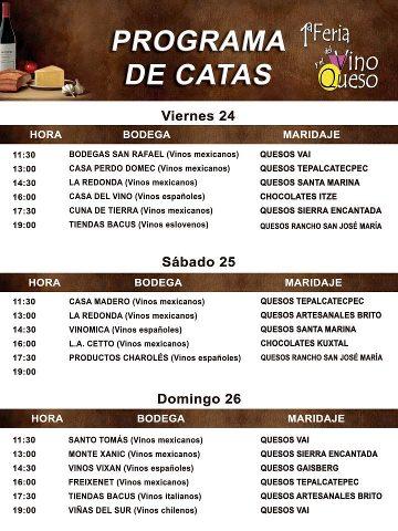 Programa de Catas 1a. Feria del Queso y Vino Coyoacán 24 al 26 Agosto 2012