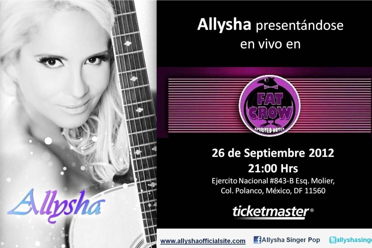 Allysha @allyshasinger en vivo este 26 Septiembre en Fat Crow