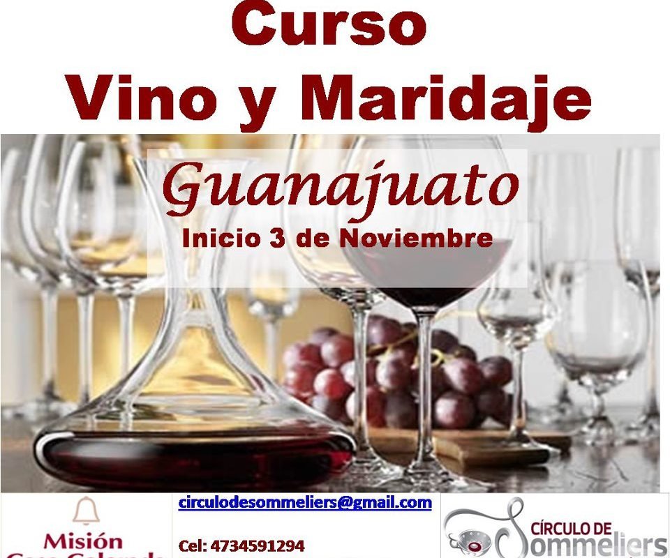 """Circulo de Sommeliers de México invitan """"Curso Vino y Maridaje"""" Guanajuato 3 Noviembre"""