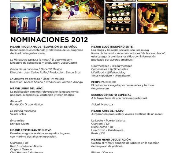 """Conoce las Nominaciones para """"Gourmet Awards 2012"""" vía @TravelLeisureMX"""