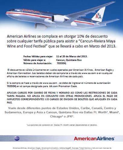 American Airlines otorga 10% Descuento para asistir a Cancún-Riviera Maya Wine & Food Festival 2013 @CRMWineFoodFest