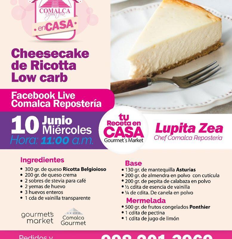 Cheesecake de Ricotta Bajo en Carbohidratos con Guadalupe Zea by Comalca Repostería
