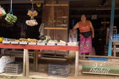 Lebensmittelverkäuferin in ihrem Laden