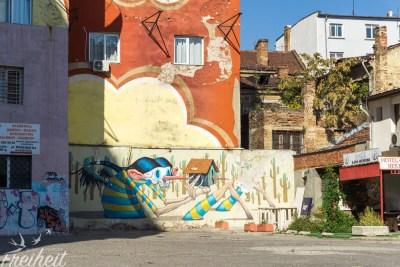 Schräges Graffiti