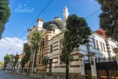 Synagoge von Sofia - gut eingekesselt von den vielen Häusern (und somit nicht so einfach zu fotografieren ;-) )
