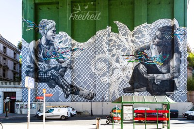 Tolle Street Art am Brückenpfeiler der Puente La Salve