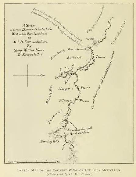 Sketch Map of the Country West of the Blue Mountains (Discovered by G W Evans)