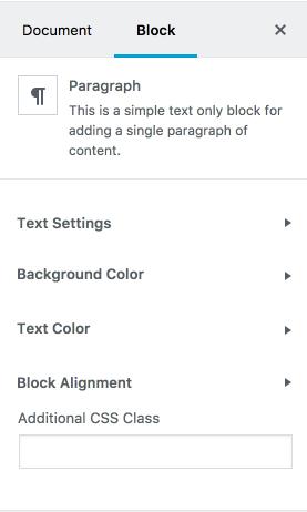 Paragraph Block Inspector Controls