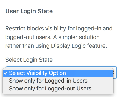 Conditionally display blocks for logged-in users