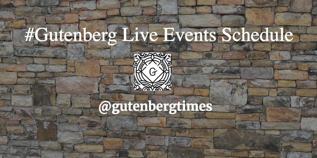 Gutenberg Live Events Schedule