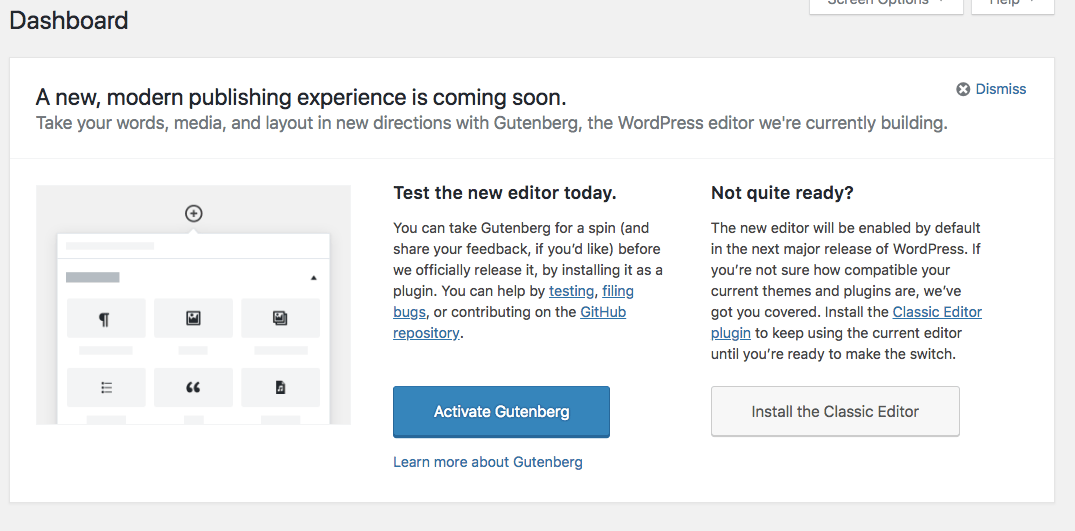 "Update: ""Try Gutenberg"" Call-out available in WordPress  4.9.8 - Beta 2"