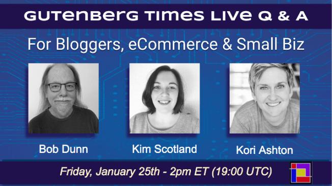 Live Q & A with Kori Ashton, Bob Dunn and Kim Scotland!
