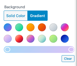 Gradient Settings for Backgrounds in WordPress 5.4