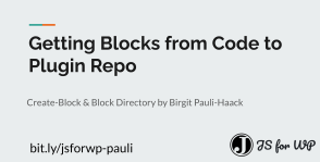 Cover: Slide deck Getting blocks from code to repo