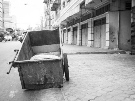 Leere Strassen in Phnom Penh