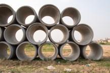 Entwässerungskanal im Bau