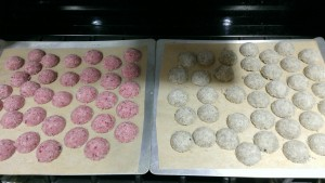 Macaroon trays ready for the oven
